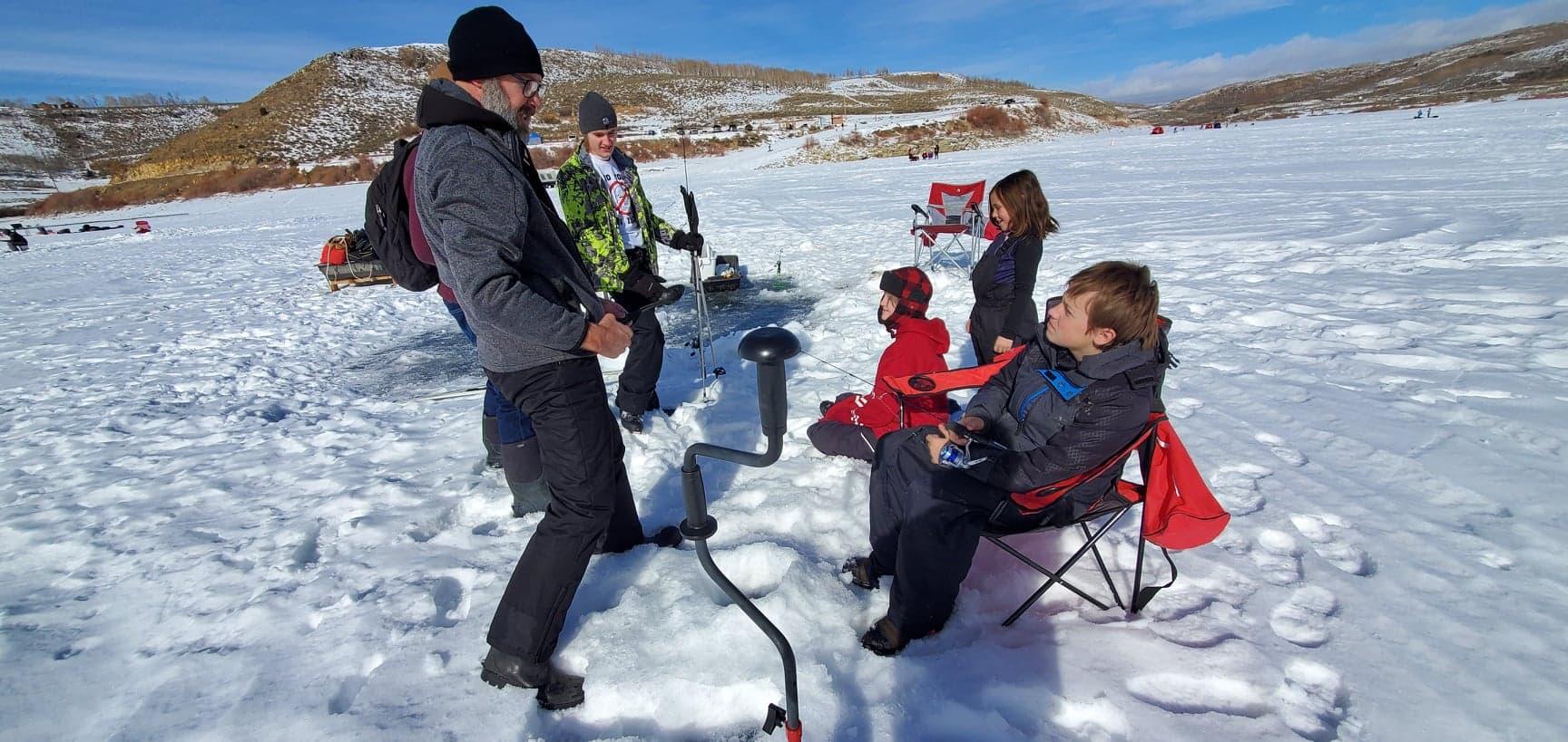 H@ul Long Bear Teaches Ice Fishing Techniques